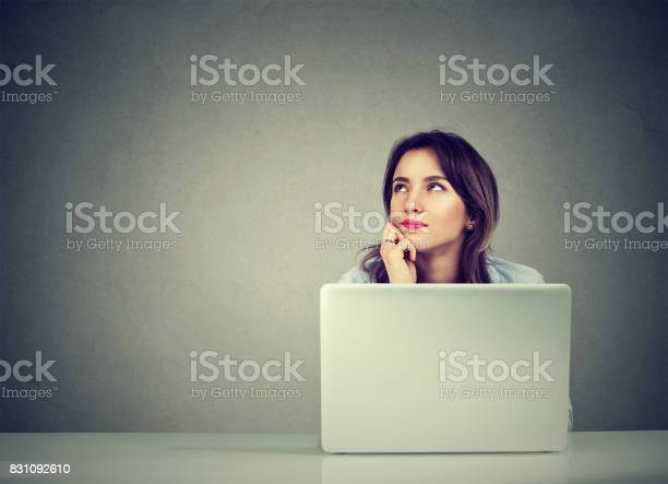 Young business woman thinking daydreaming sitting at desk with laptop picture id831092610?b=1&k=6&m=831092610&s=612x612&h=dkg6dge2paed2a kkmblqqoqmkoopqunrecug7oa ik=
