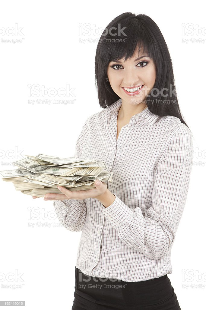 Young business woman with pile of money royalty-free stock photo