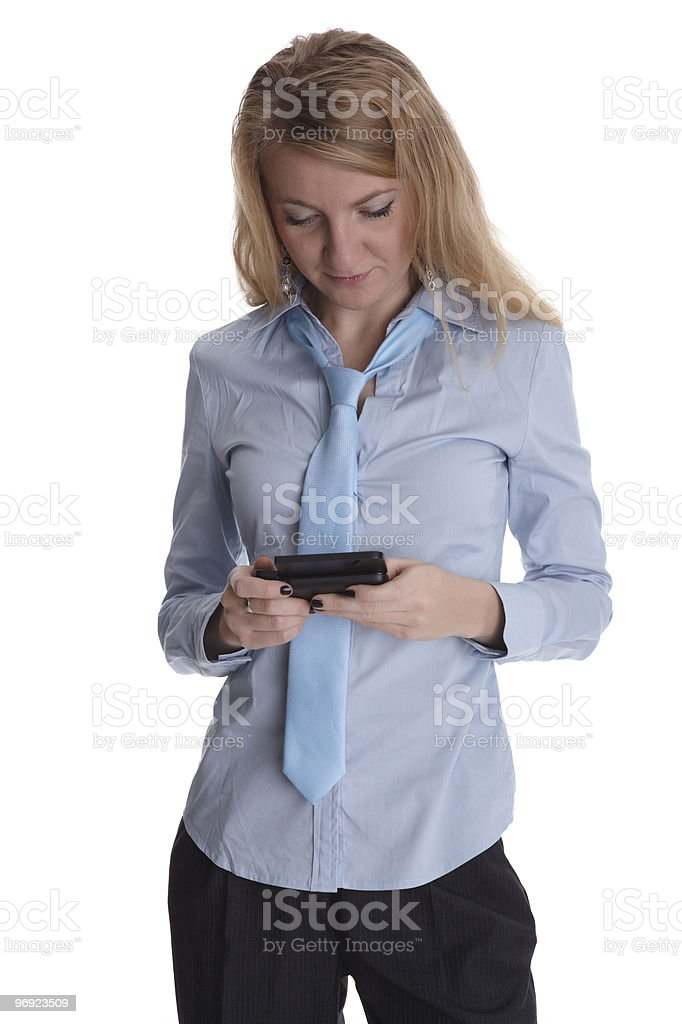 Young business woman with smart phone royalty-free stock photo