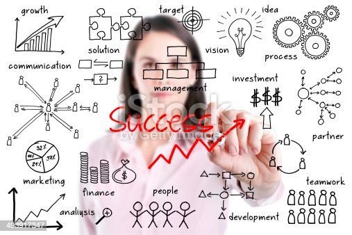istock Young business woman writing success by many process. 493917347