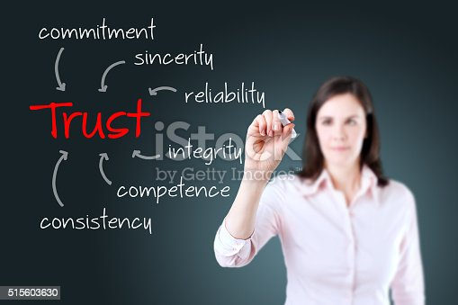 istock Young business woman writing trust building concept 515603630