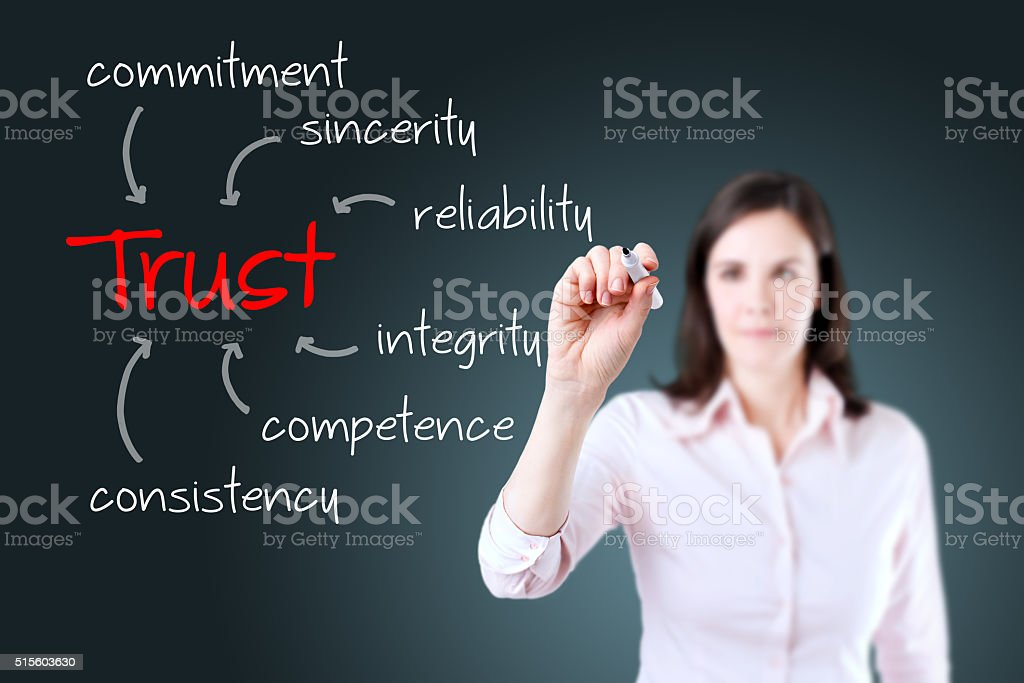 Young business woman writing trust building concept stock photo
