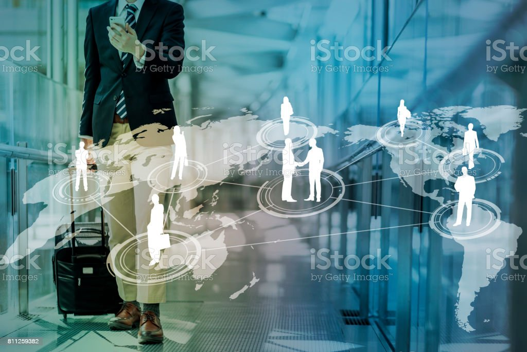 young businessman and worldwide network stock photo
