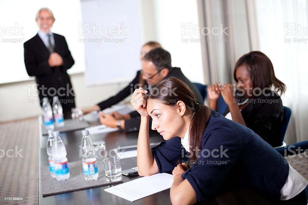 Young businessman discussing work stock photo