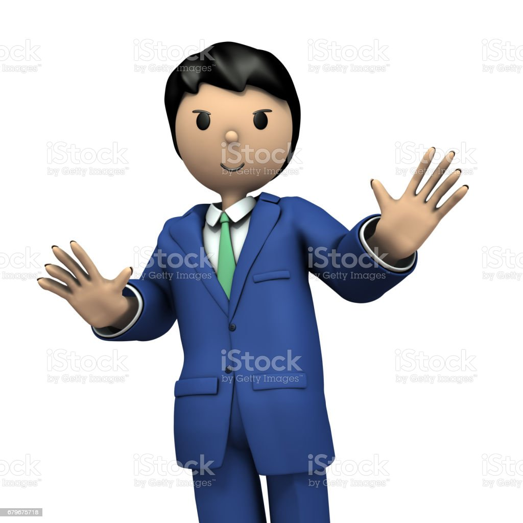 A young businessman during the presentation. vector art illustration