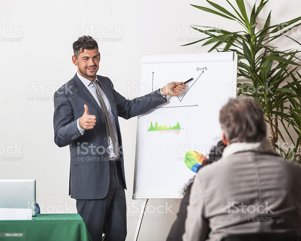 Young Businessman Explaining Plans and Charts royalty-free stock photo