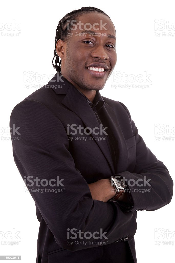 Young businessman  folding arms royalty-free stock photo