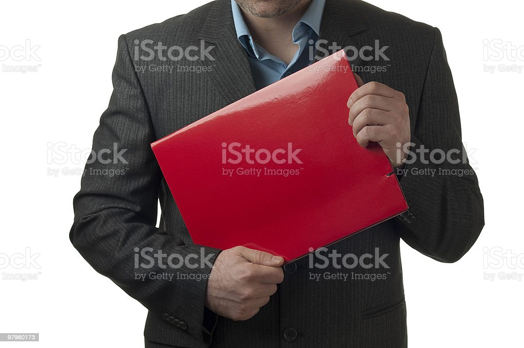 Young businessman  holding a red folder isolated on white royalty-free stock photo