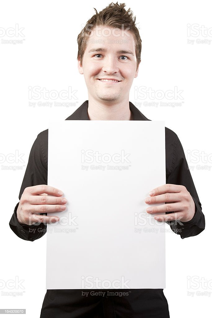 Young businessman holding blank card royalty-free stock photo