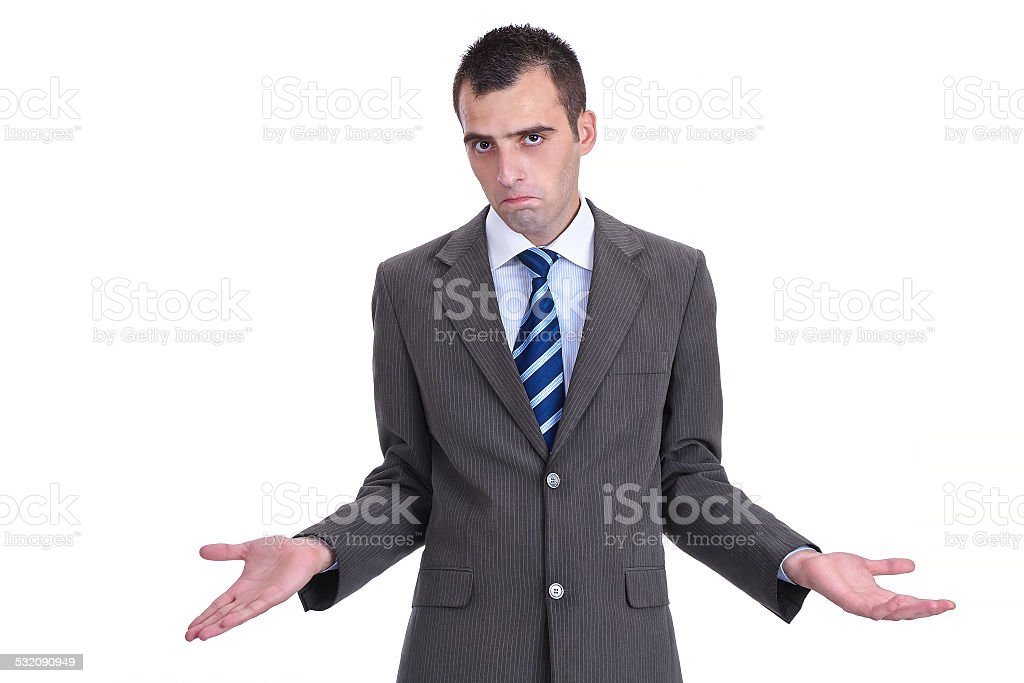 Young  businessman in a gray suit rejecting the responsibility stock photo