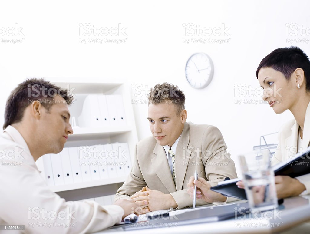 Young businessman in a job interview royalty-free stock photo