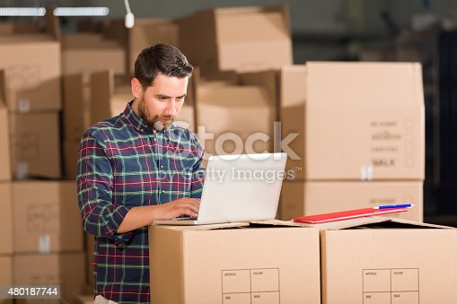istock Young Businessman in Warehouse 480187744