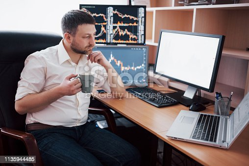 508901890 istock photo Young businessman is sitting in office at table, working on computer with many monitors,diagrams on monitor. Stock broker analyzes binary options charts.Hipster man drinking coffee,studying 1135944485