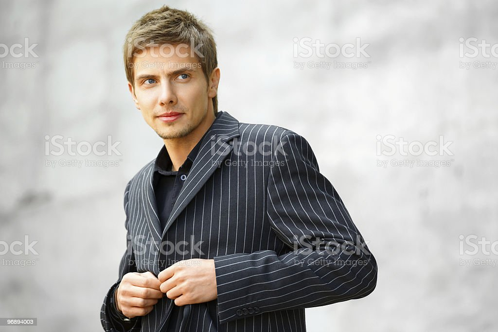 Young businessman looking trough royalty-free stock photo
