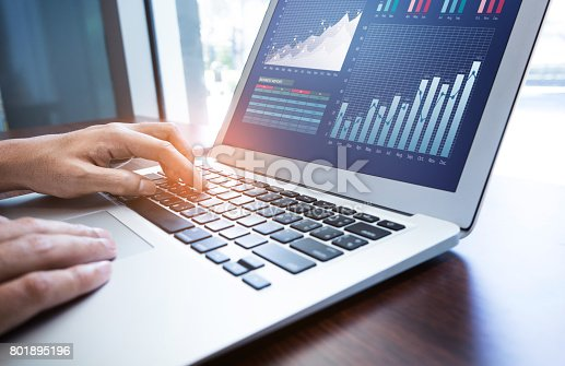 istock Young businessman multitasking using laptop.working concepts 801895196