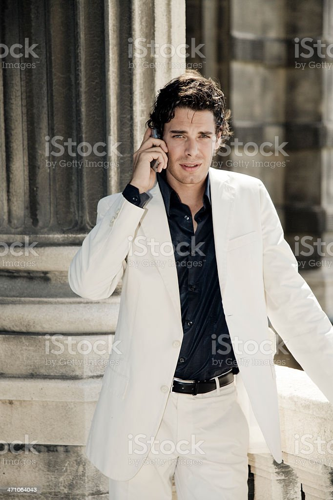 Young Businessman on Mobile Phone royalty-free stock photo