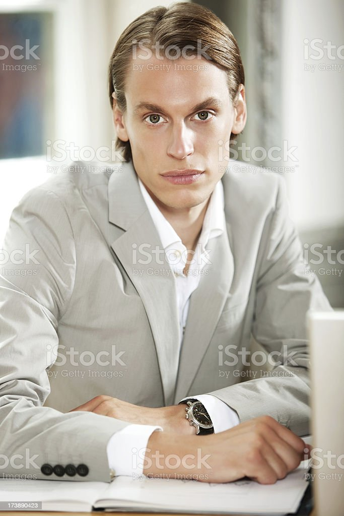 Young Businessman Young Businessman with Laptop Adult Stock Photo