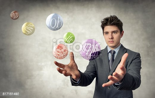 young businessman with open hands and bright bubbles