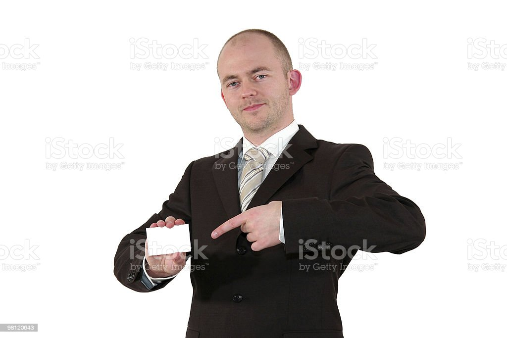 young businessman pointing at business card royalty-free stock photo