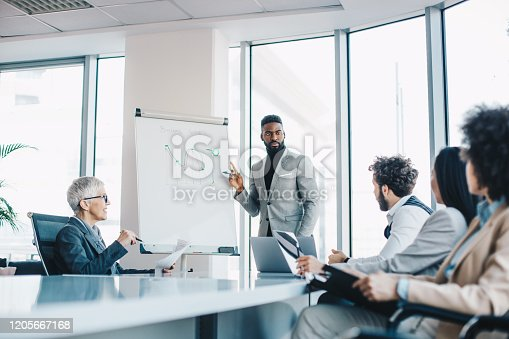 A young businessman presenting to a managerial team his ideas over a graph on a whiteboard at the conference room. He has a plan on how to improve the results.