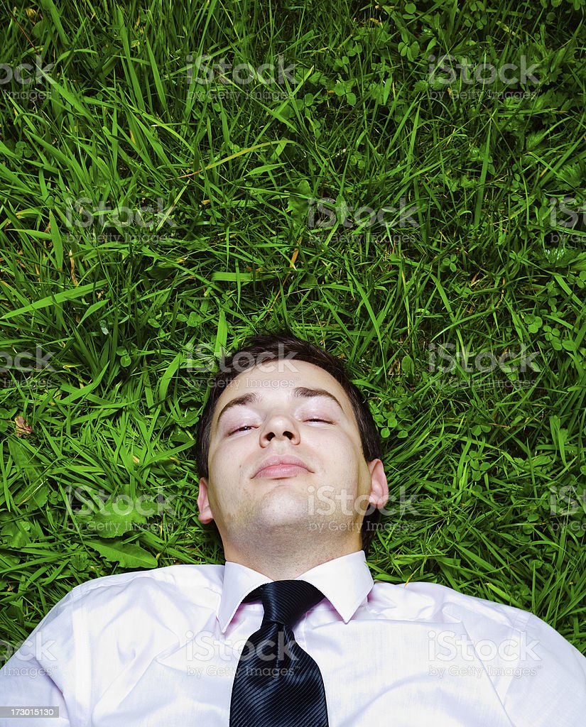 Young businessman resting on the grass royalty-free stock photo
