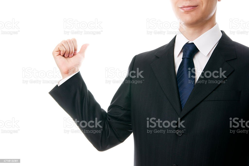 Young businessman showing ago stock photo