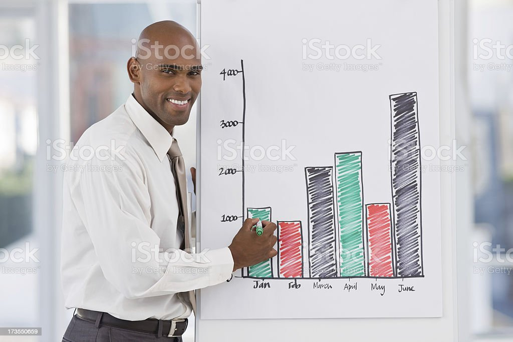Young businessman showing graph royalty-free stock photo
