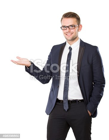 istock Young businessman take something on his hand, concept isolated 498398850