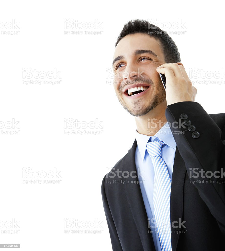 Young businessman talking on cellphone stock photo
