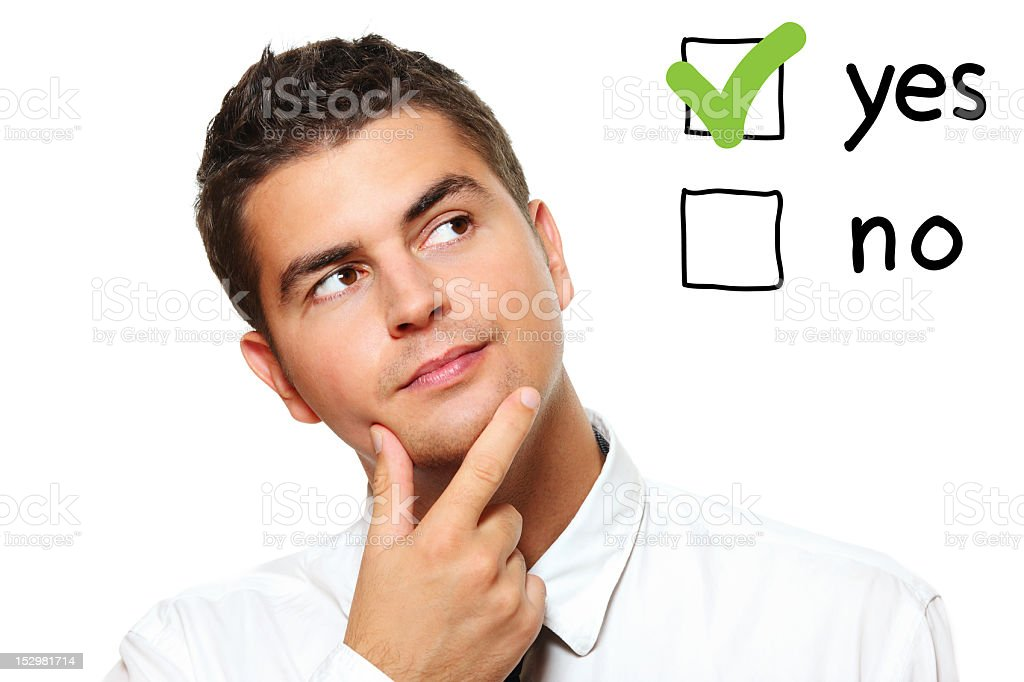 Young businessman voting royalty-free stock photo