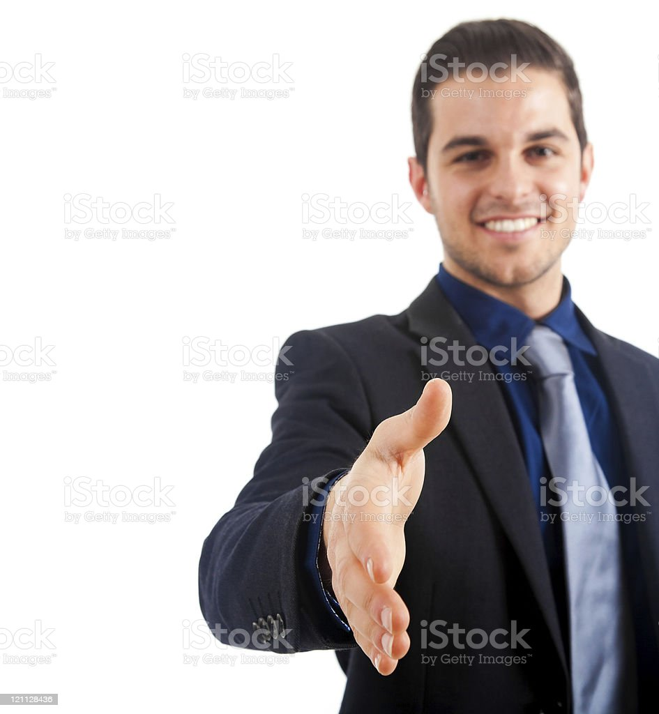 Young businessman welocomes you aboard stock photo