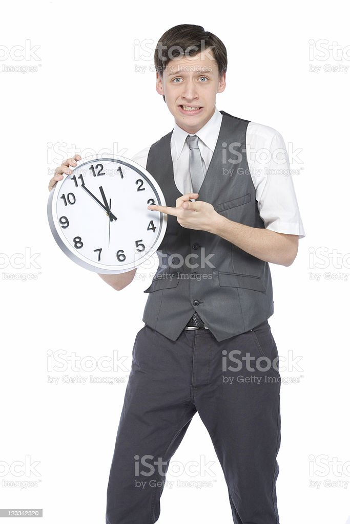 Young Businessman With A Clock royalty-free stock photo