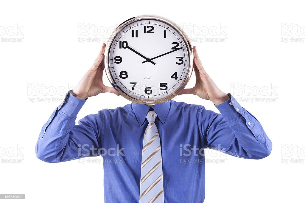 Young businessman with analog clock over his face. royalty-free stock photo