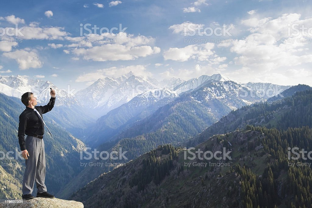 Young businessman with his mobile angry for connection break stock photo