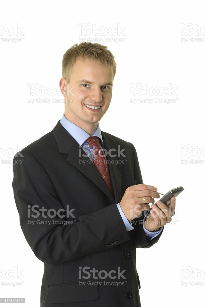 young businessman with palmtop royalty-free stock photo