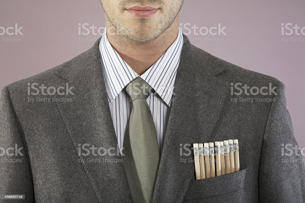 Young Businessman With Pencils In Pocket royalty-free stock photo