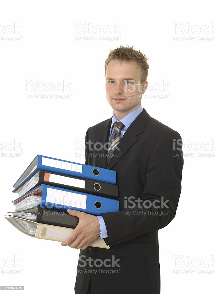 young businessman with ring binders royalty-free stock photo