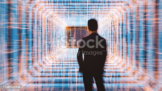 Young businessman with virtual reality display. This is entirely 3D generated image.