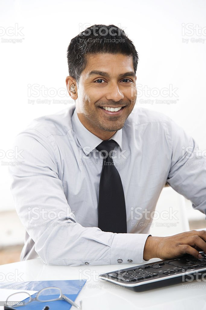 Young Businessman Working at Computer royalty-free stock photo