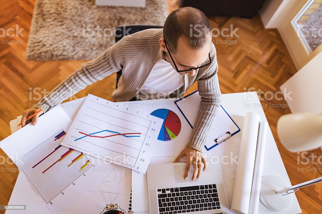 Young businessman working from home analyzing on the lap top stock photo
