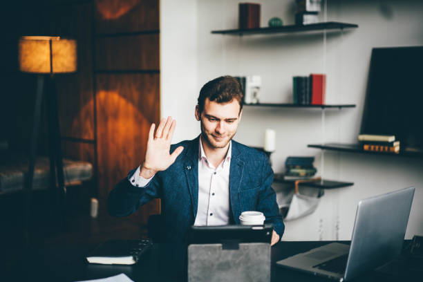 Young businessman working stock photo
