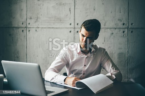 1161068403 istock photo Young businessman working 1204632844