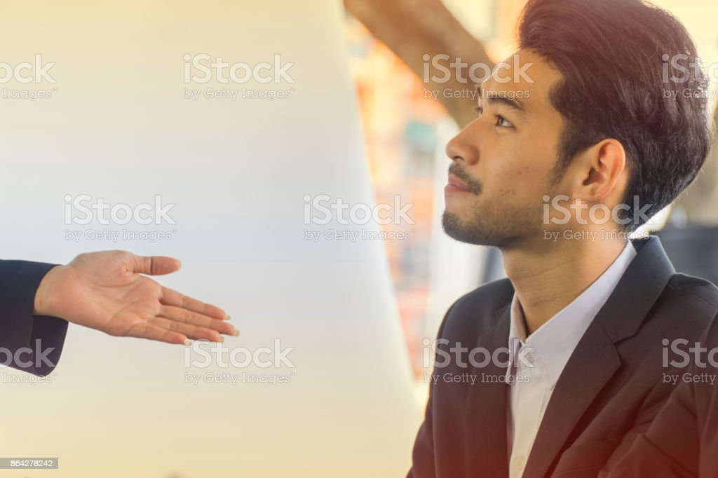 Young businessmen introduced at the conference. royalty-free stock photo