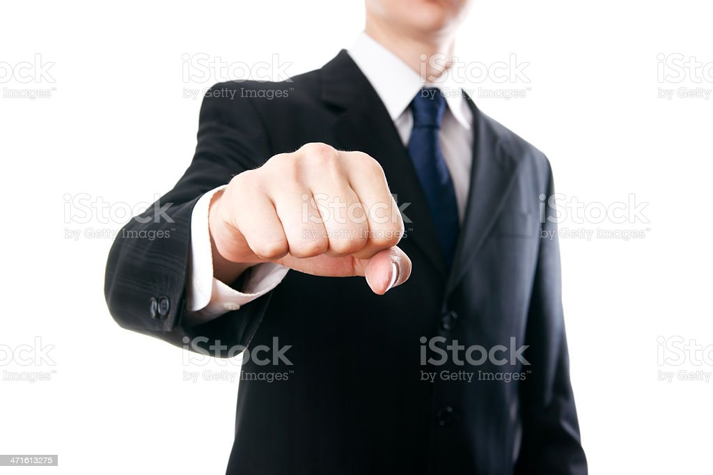 Young businessmen showing knuckle stock photo