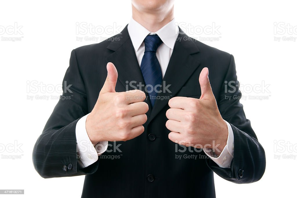 Young businessmen shows OK sign stock photo