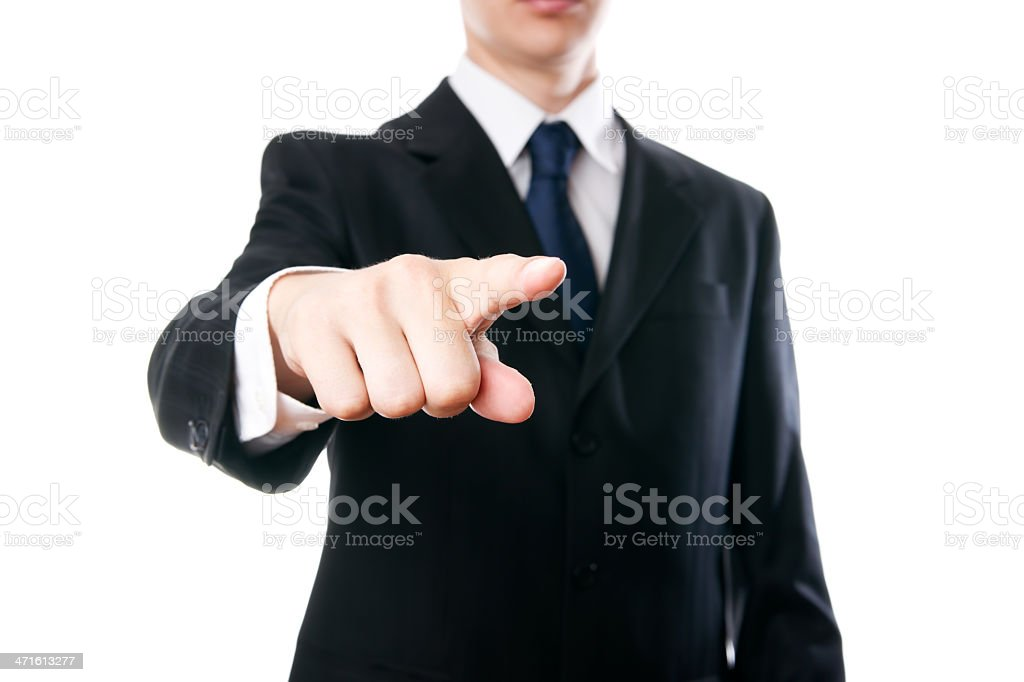 Young businessmen shows pointing gesture stock photo