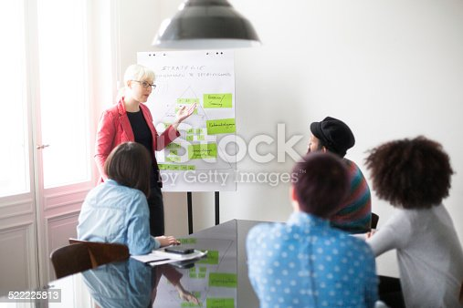 istock Young businesswoman discussing future plans with her colleagues 522225813