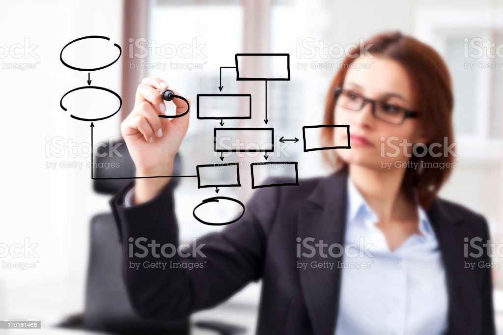 Young businesswoman drawing on a clear glass board royalty-free stock photo