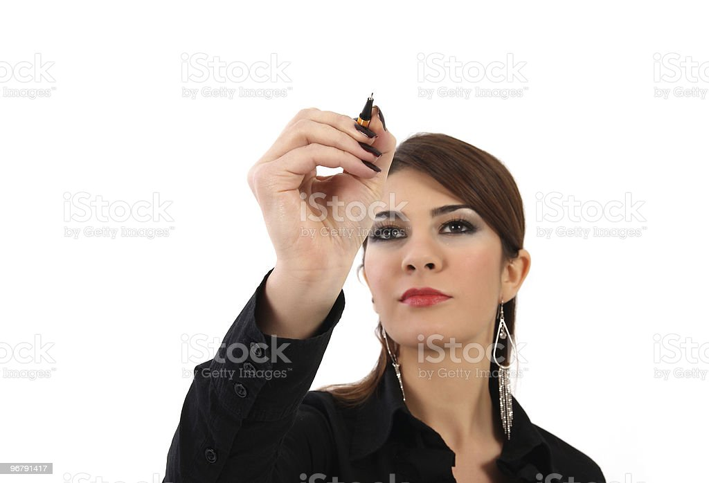 young businesswoman drawing royalty-free stock photo