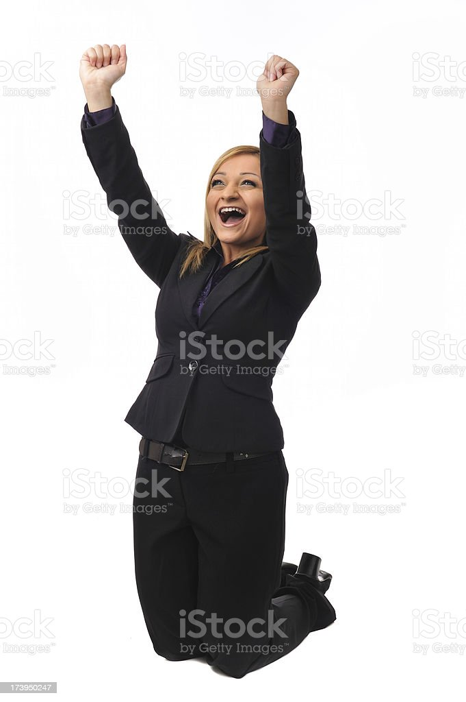 Young businesswoman expressing enthusiasm royalty-free stock photo